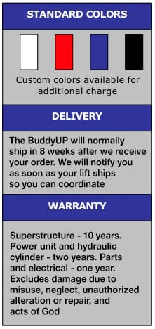 buddy up 4 post lift colors and warranty