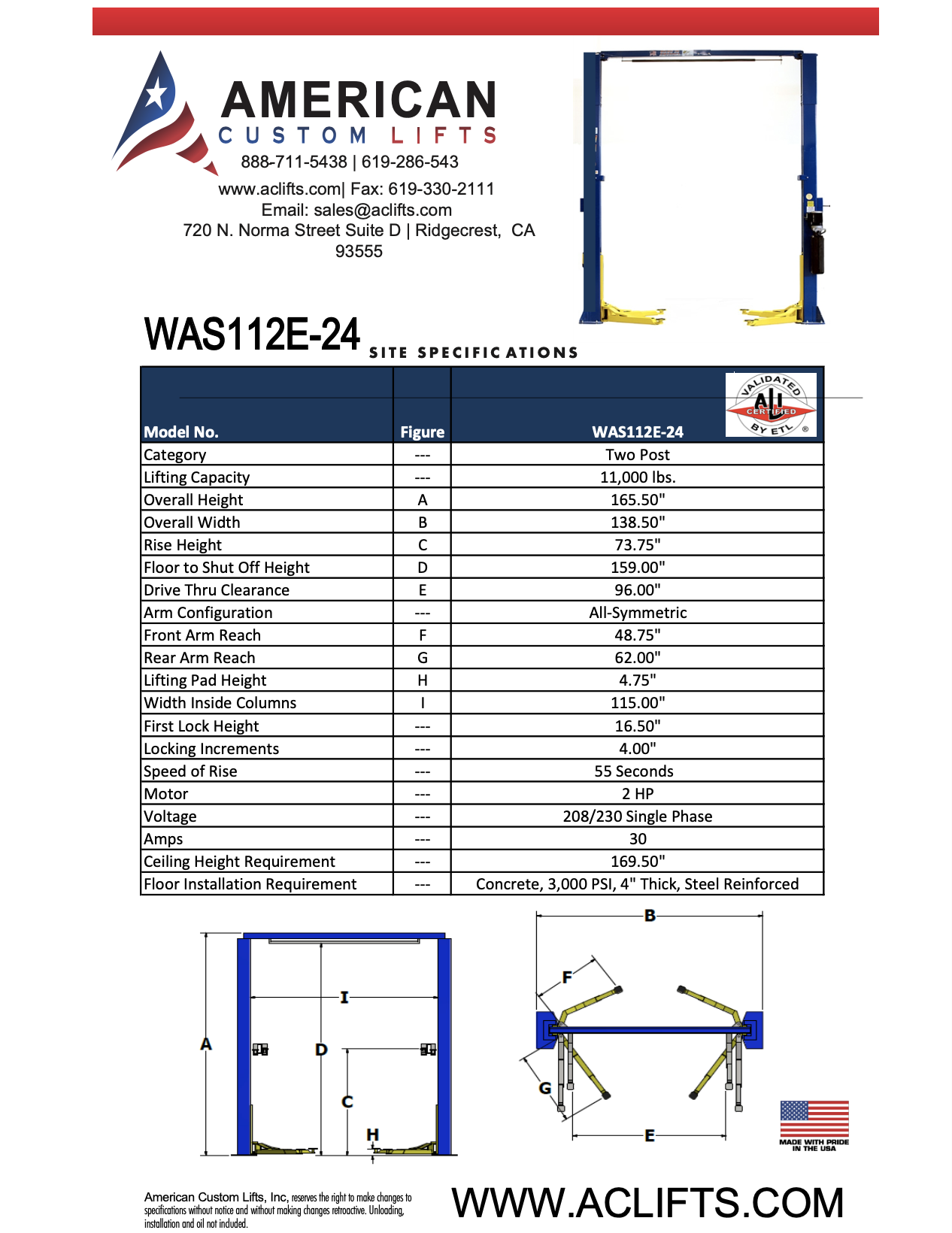 WAS112E-24 v1 Ex-Tall Two Post Automotive Lift Specifications
