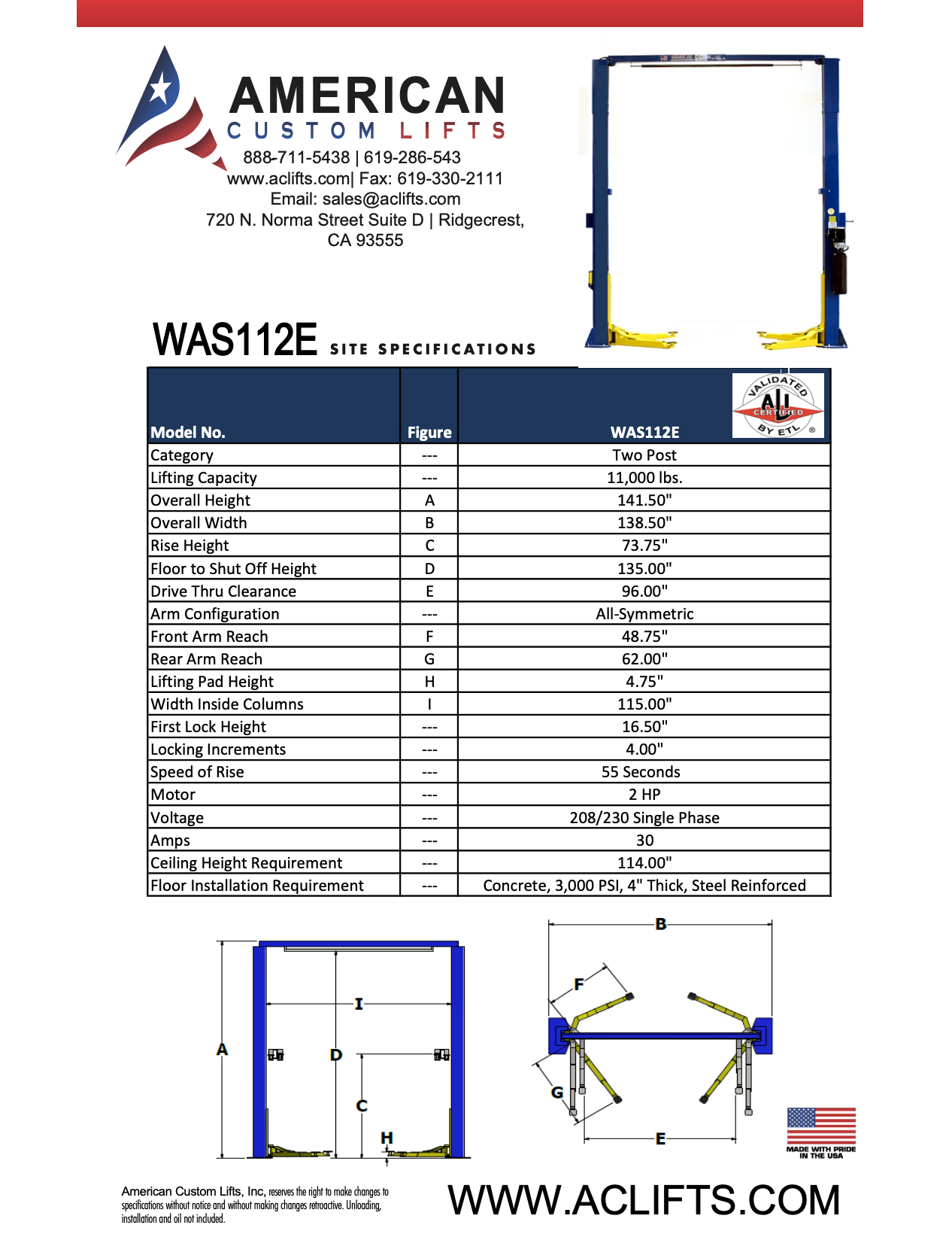 WAS112E Two Post Automotive Lift Specifications