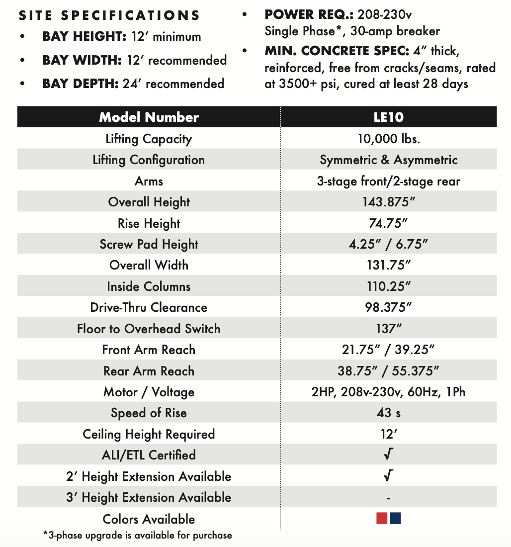 LE10 2-Post Economy Lift Specifications